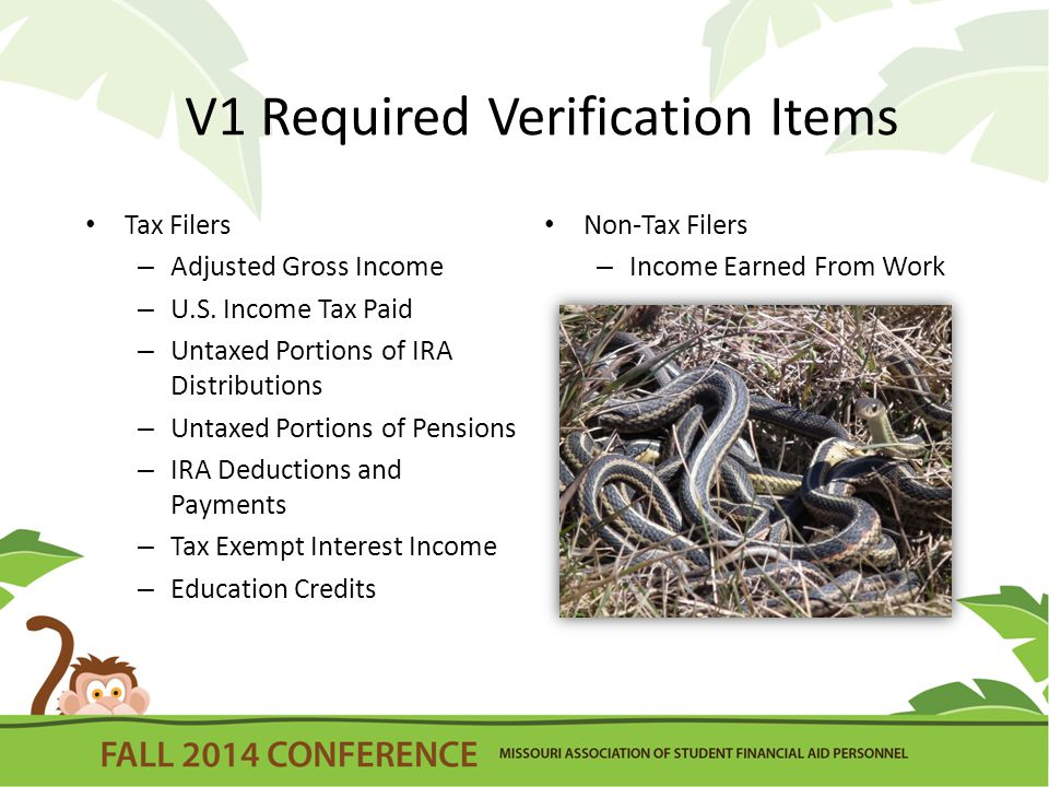 V1 Required Verification Items Tax Filers – Adjusted Gross Income – U.S.