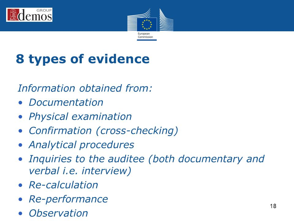 8 types of evidence Information obtained from: Documentation Physical examination Confirmation (cross-checking) Analytical procedures Inquiries to the auditee (both documentary and verbal i.e.