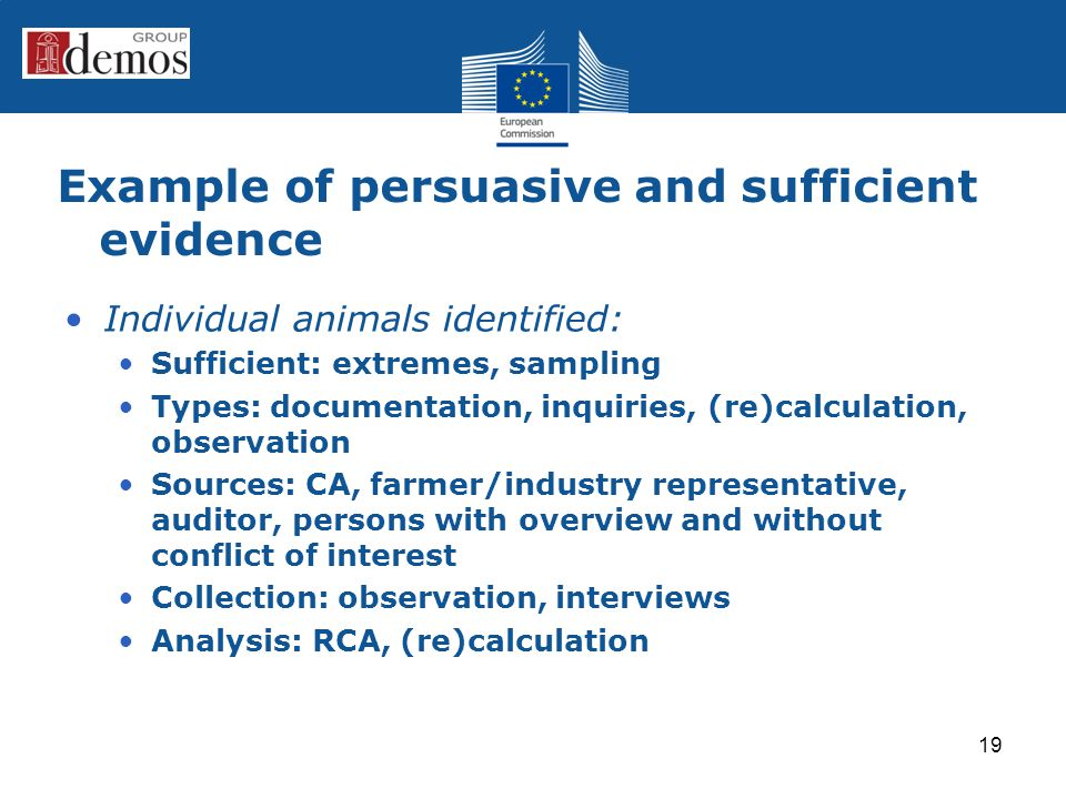 Example of persuasive and sufficient evidence Individual animals identified: Sufficient: extremes, sampling Types: documentation, inquiries, (re)calculation, observation Sources: CA, farmer/industry representative, auditor, persons with overview and without conflict of interest Collection: observation, interviews Analysis: RCA, (re)calculation 19