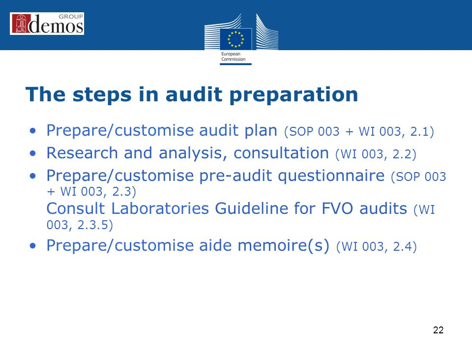 The steps in audit preparation Prepare/customise audit plan (SOP 003 + WI 003, 2.1) Research and analysis, consultation (WI 003, 2.2) Prepare/customise pre-audit questionnaire (SOP 003 + WI 003, 2.3) Consult Laboratories Guideline for FVO audits (WI 003, 2.3.5) Prepare/customise aide memoire(s) (WI 003, 2.4) 22