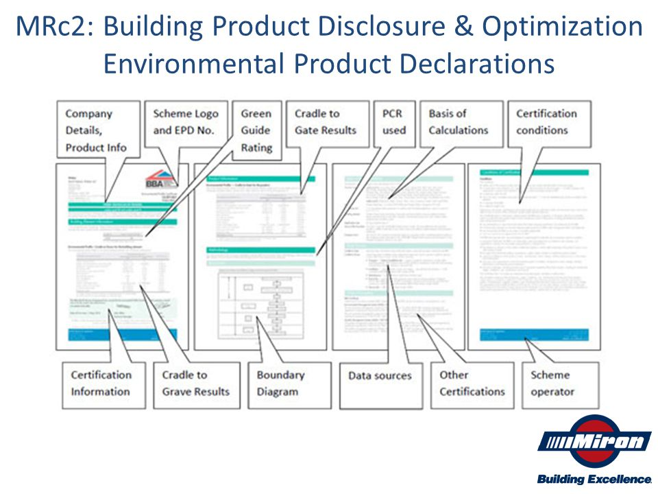 MRc2: Building Product Disclosure & Optimization Environmental Product Declarations