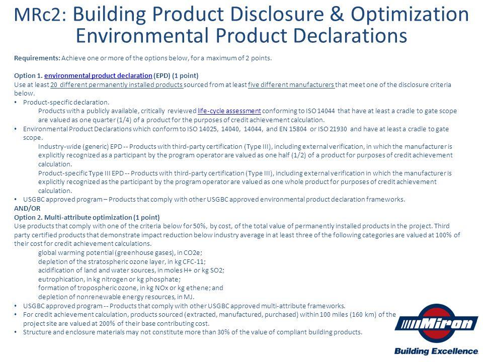 MRc2: Building Product Disclosure & Optimization Environmental Product Declarations