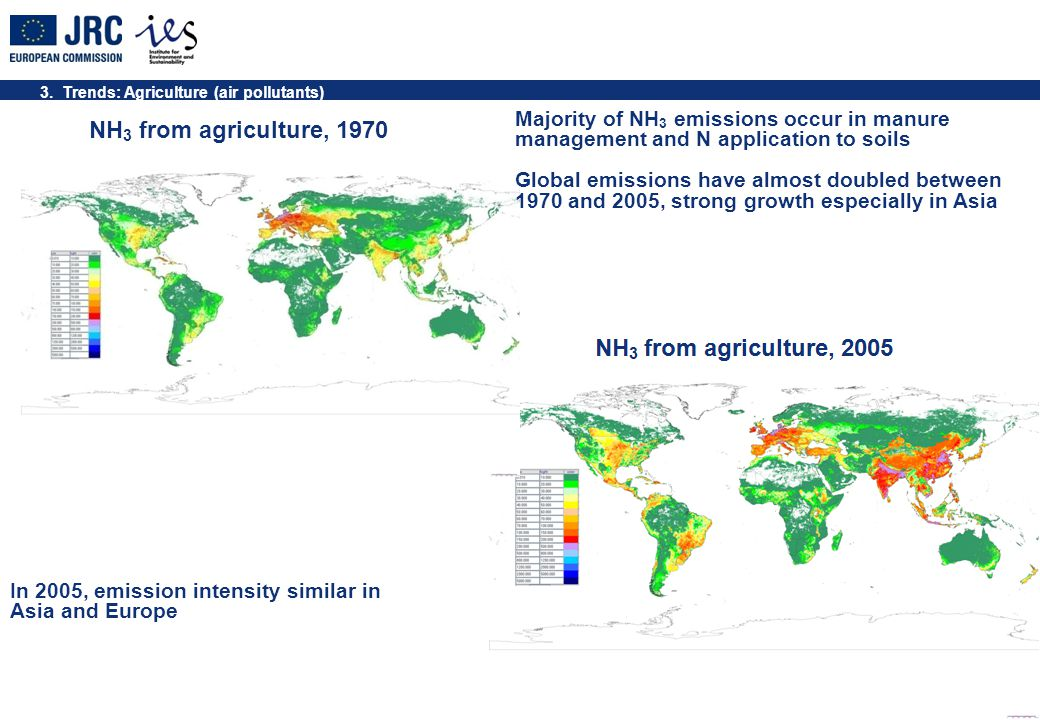 3. Trends: Agriculture (air pollutants) NH 3 from agriculture, 1970 Majority of NH 3 emissions occur in manure management and N application to soils G