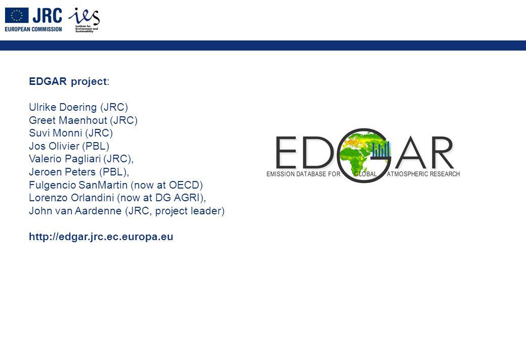 EDGAR project: Ulrike Doering (JRC) Greet Maenhout (JRC) Suvi Monni (JRC) Jos Olivier (PBL) Valerio Pagliari (JRC), Jeroen Peters (PBL), Fulgencio SanMartin (now at OECD) Lorenzo Orlandini (now at DG AGRI), John van Aardenne (JRC, project leader) http://edgar.jrc.ec.europa.eu