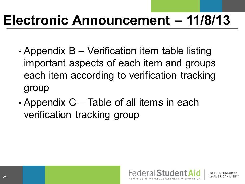 Electronic Announcement – 11/8/13 Appendix B – Verification item table listing important aspects of each item and groups each item according to verifi