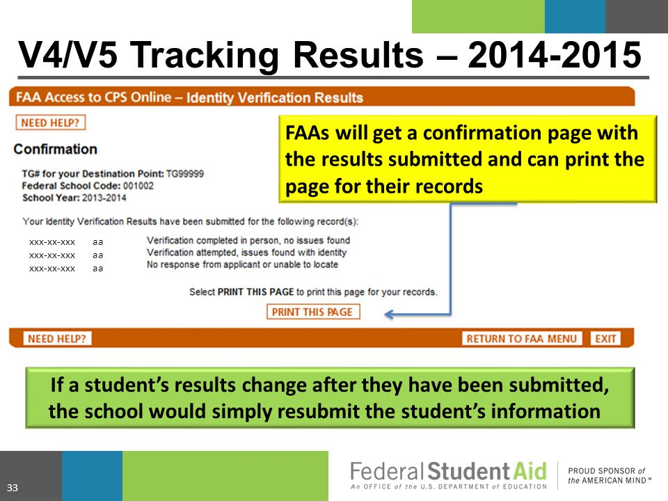 FAAs will get a confirmation page with the results submitted and can print the page for their records xxx-xx-xxx aa V4/V5 Tracking Results – 2014-2015