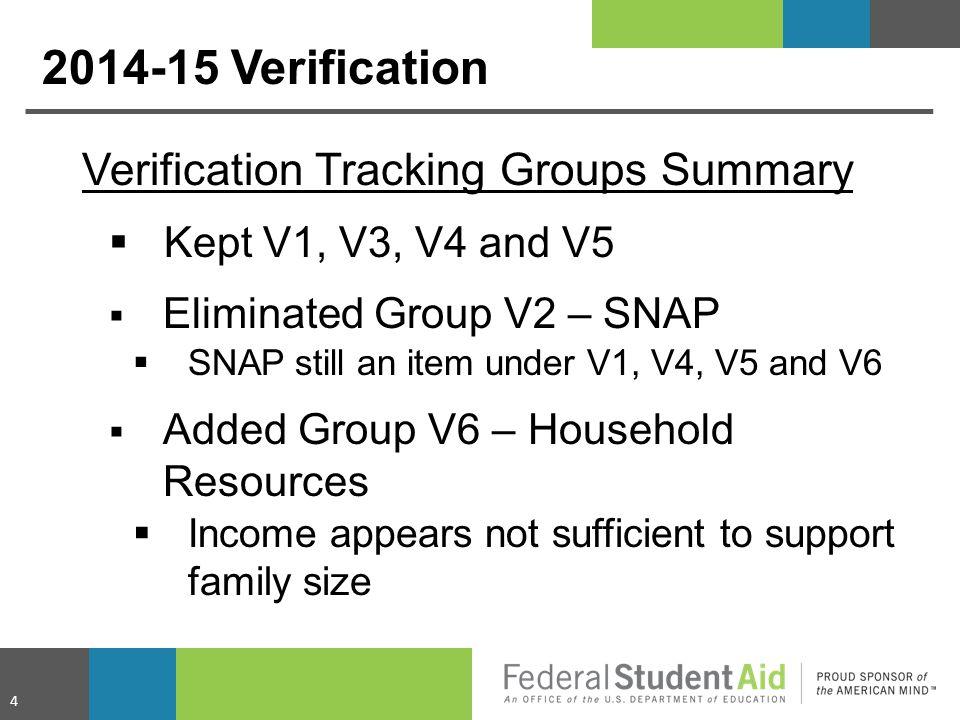 2014-15 Verification Verification Tracking Groups Summary  Kept V1, V3, V4 and V5  Eliminated Group V2 – SNAP  SNAP still an item under V1, V4, V5