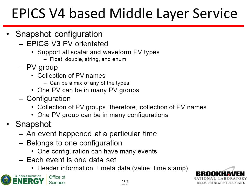 23 BROOKHAVEN SCIENCE ASSOCIATES EPICS V4 based Middle Layer Service Snapshot configuration –EPICS V3 PV orientated Support all scalar and waveform PV types –Float, double, string, and enum –PV group Collection of PV names –Can be a mix of any of the types One PV can be in many PV groups –Configuration Collection of PV groups, therefore, collection of PV names One PV group can be in many configurations Snapshot –An event happened at a particular time –Belongs to one configuration One configuration can have many events –Each event is one data set Header information + meta data (value, time stamp)