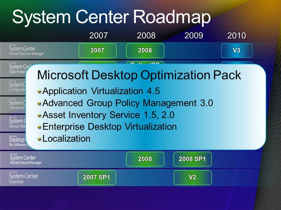 Microsoft Desktop Optimization Pack Application Virtualization 4.5 Advanced Group Policy Management 3.0 Asset Inventory Service 1.5, 2.0 Enterprise Desktop Virtualization Localization