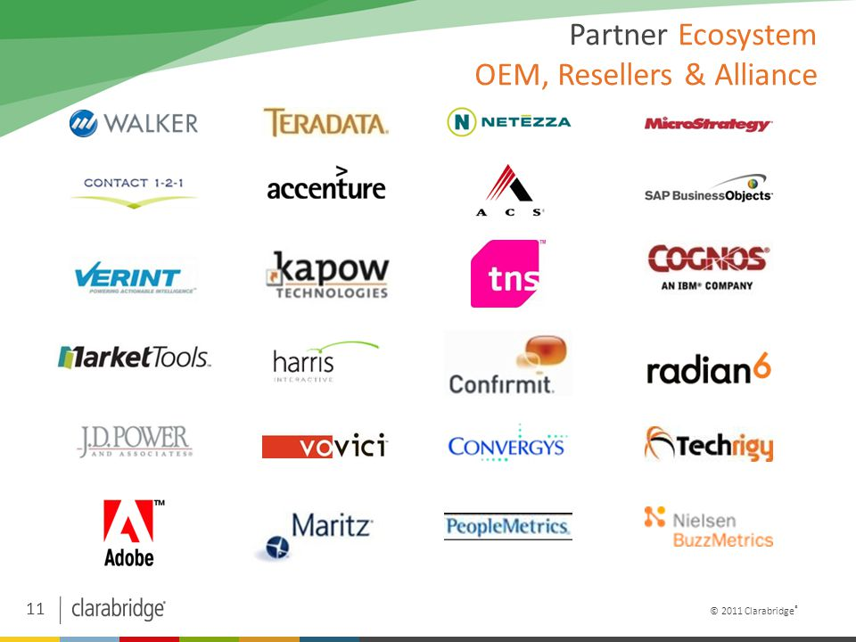 11 © 2011 Clarabridge ® Partner Ecosystem OEM, Resellers & Alliance