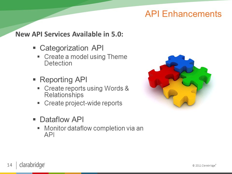 14 © 2011 Clarabridge ® API Enhancements  Categorization API  Create a model using Theme Detection  Reporting API  Create reports using Words & Relationships  Create project-wide reports  Dataflow API  Monitor dataflow completion via an API New API Services Available in 5.0: