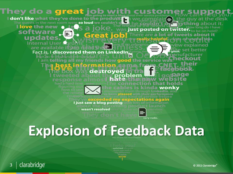 3 © 2011 Clarabridge ® Explosion of Feedback Data