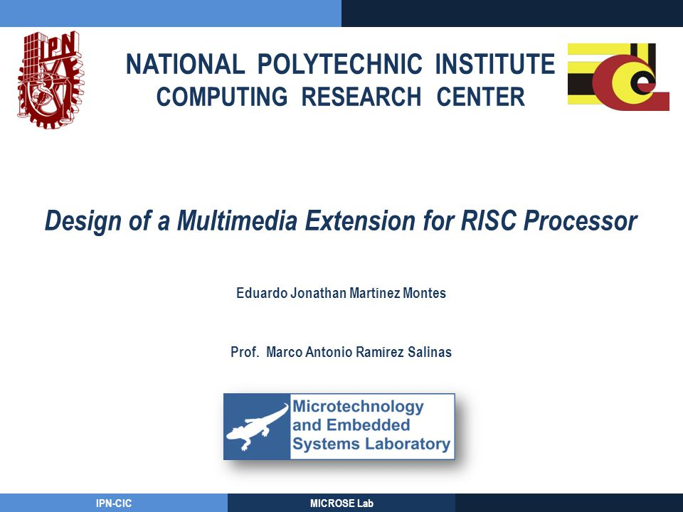 NATIONAL POLYTECHNIC INSTITUTE COMPUTING RESEARCH CENTER IPN-CICMICROSE Lab Design of a Multimedia Extension for RISC Processor Eduardo Jonathan Martí