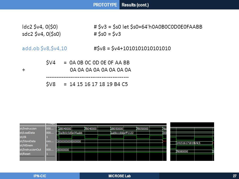 IPN-CICMICROSE Lab27 ldc2 $v4, 0($0)# $v3 = $s0 let $s0=64'h0A0B0C0D0E0FAABB sdc2 $v4, 0($s0)# $s0 = $v3 add.ob $v8,$v4,10#$v8 = $v4+1010101010101010