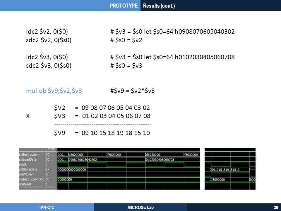IPN-CICMICROSE Lab28 ldc2 $v2, 0($0)# $v3 = $s0 let $s0=64'h0908070605040302 sdc2 $v2, 0($s0)# $s0 = $v2 ldc2 $v3, 0($0)# $v3 = $s0 let $s0=64'h010203