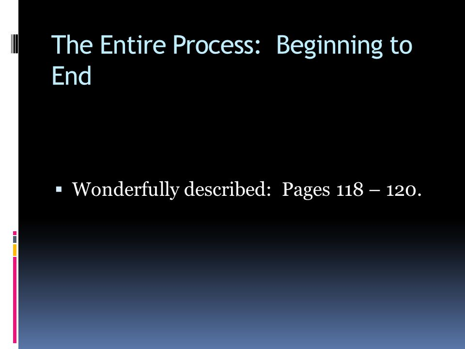 The Entire Process: Beginning to End  Wonderfully described: Pages 118 – 120.