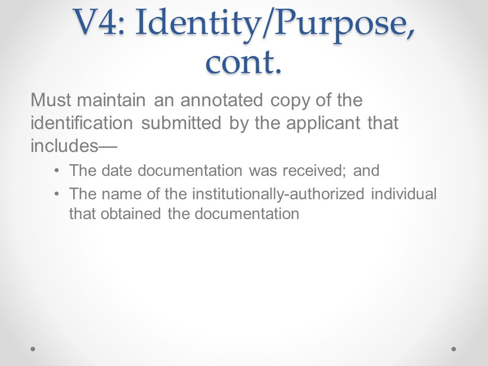 V4: Identity/Purpose, cont.