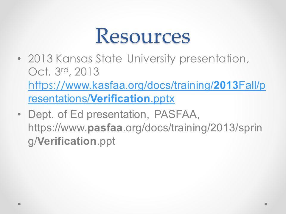 Resources 2013 Kansas State University presentation, Oct.