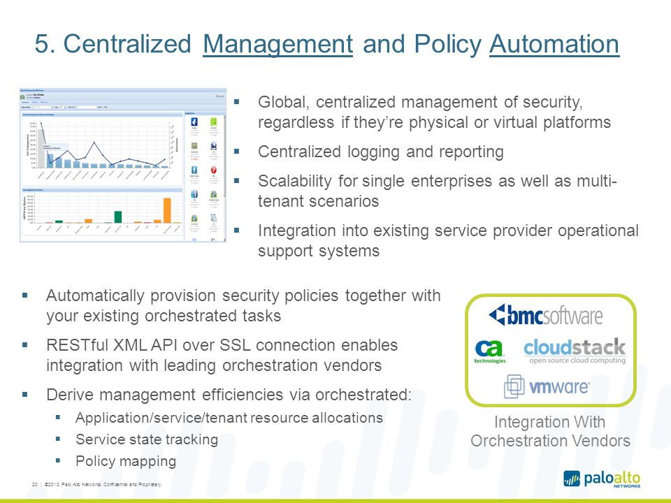 5. Centralized Management and Policy Automation  Global, centralized management of security, regardless if they're physical or virtual platforms  Ce
