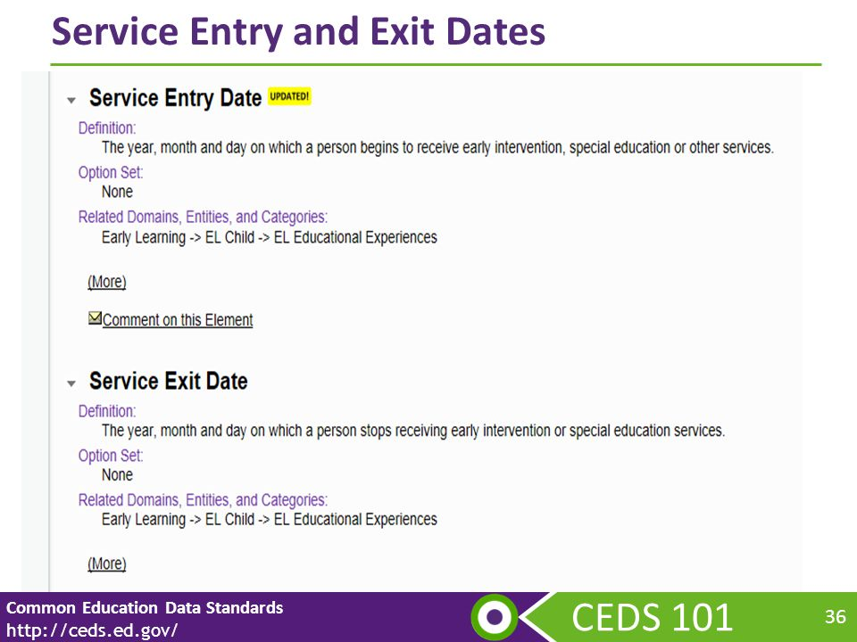 CEDS 101 Common Education Data Standards http://ceds.ed.gov/ 36 Service Entry and Exit Dates