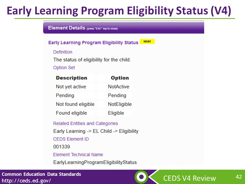 CEDS V4 Review Common Education Data Standards   42 Early Learning Program Eligibility Status (V4)