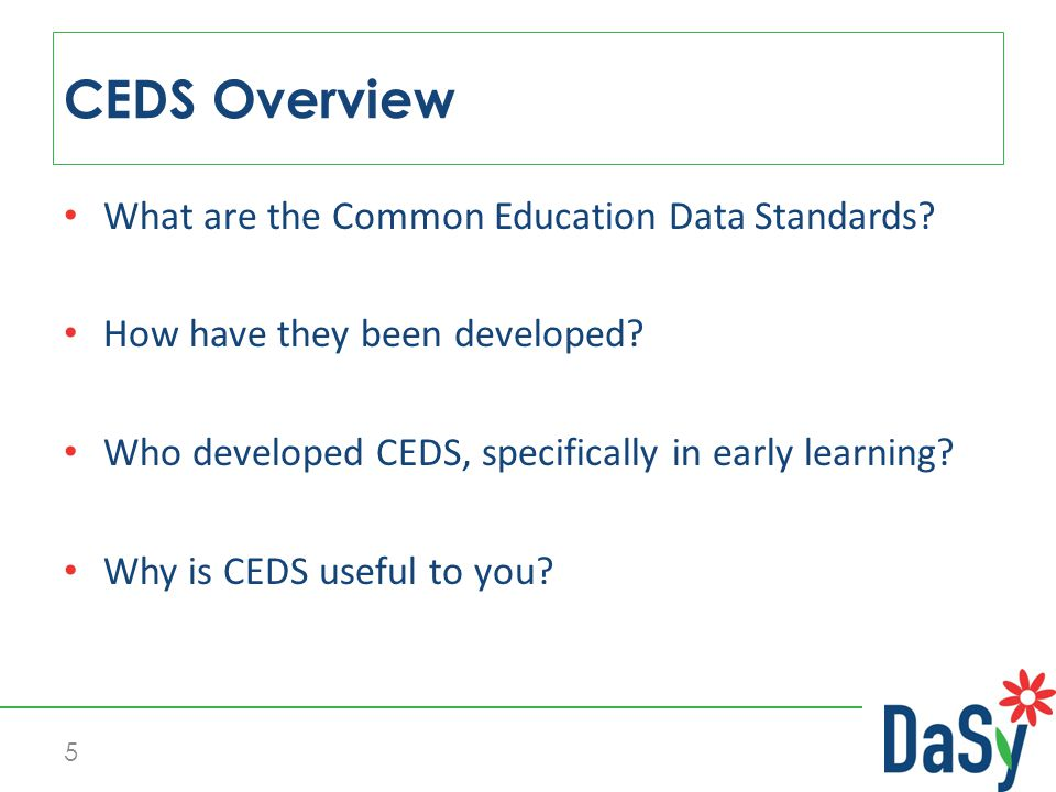 CEDS V4 Review Common Education Data Standards http://ceds.ed.gov/ 46 Child Outcomes Summary Rating (V4)