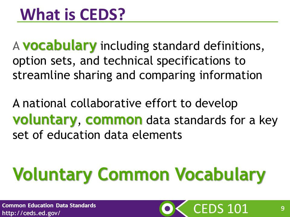 CEDS V4 Review Common Education Data Standards http://ceds.ed.gov/ 40 CEDS V 4 includes 106 new data elements in Early Learning domain.