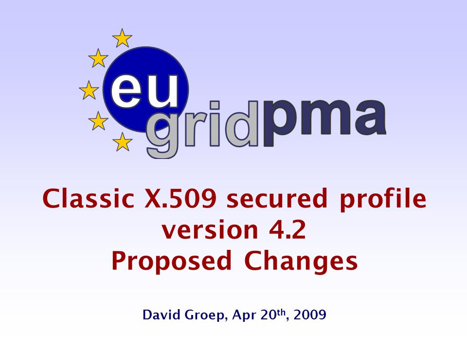 Classic X.509 secured profile version 4.2 Proposed Changes David Groep, Apr 20 th, 2009
