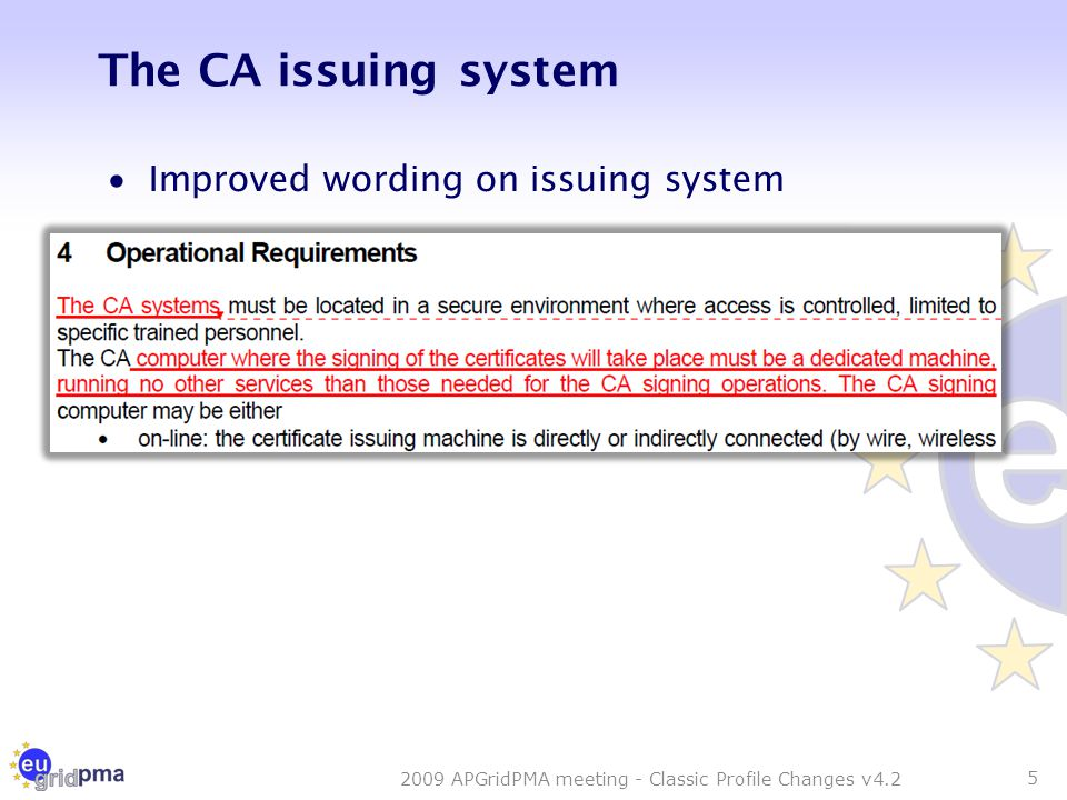 The CA issuing system  Improved wording on issuing system 5 2009 APGridPMA meeting - Classic Profile Changes v4.2