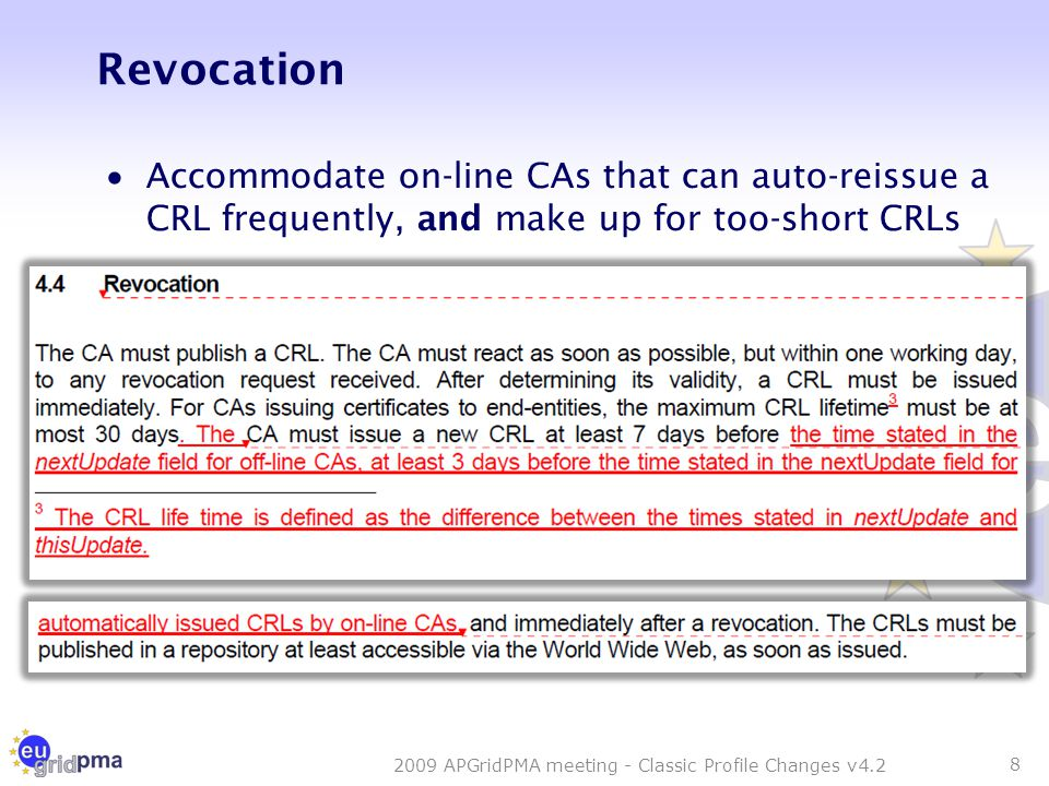 Revocation  Accommodate on-line CAs that can auto-reissue a CRL frequently, and make up for too-short CRLs 8 2009 APGridPMA meeting - Classic Profile Changes v4.2