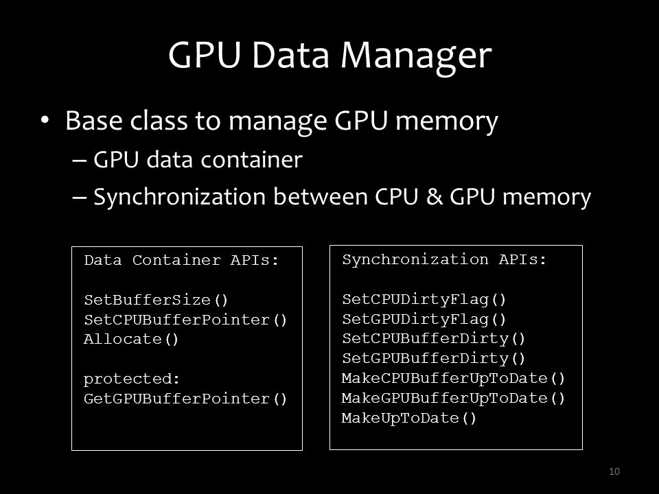 GPU Data Manager Base class to manage GPU memory – GPU data container – Synchronization between CPU & GPU memory 10 Data Container APIs: SetBufferSize