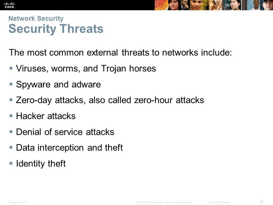 Presentation_ID 39 © 2008 Cisco Systems, Inc. All rights reserved.Cisco Confidential Network Security Security Threats The most common external threat