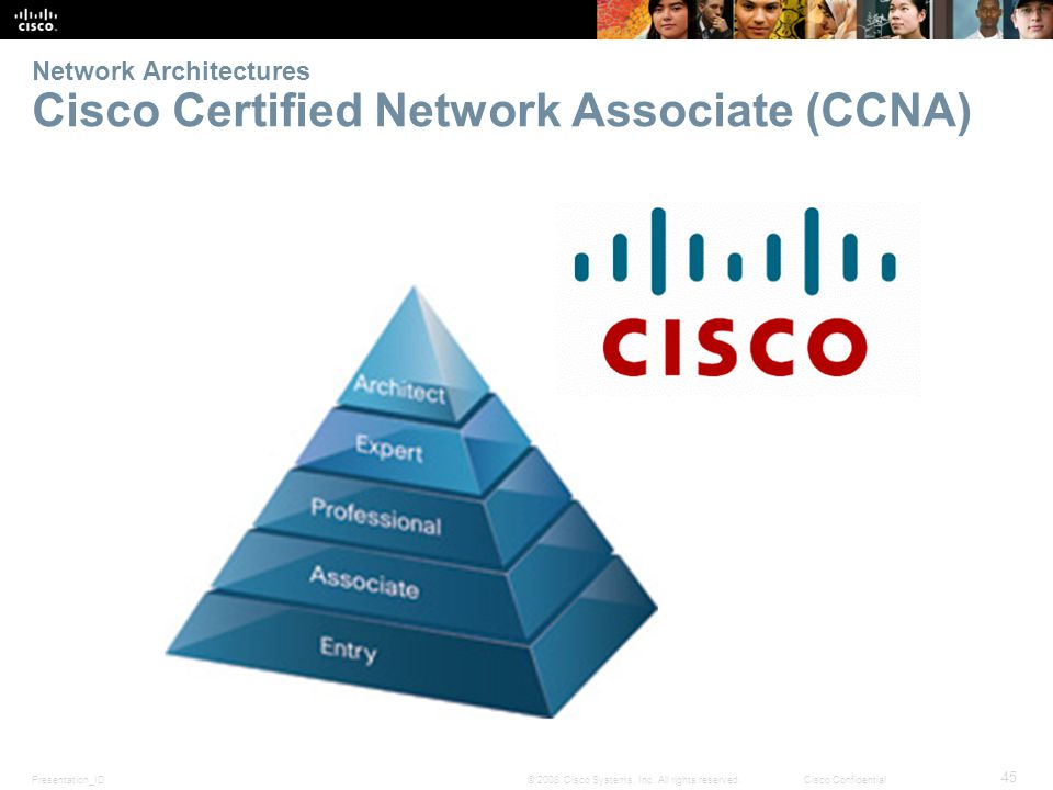Presentation_ID 45 © 2008 Cisco Systems, Inc. All rights reserved.Cisco Confidential Network Architectures Cisco Certified Network Associate (CCNA)