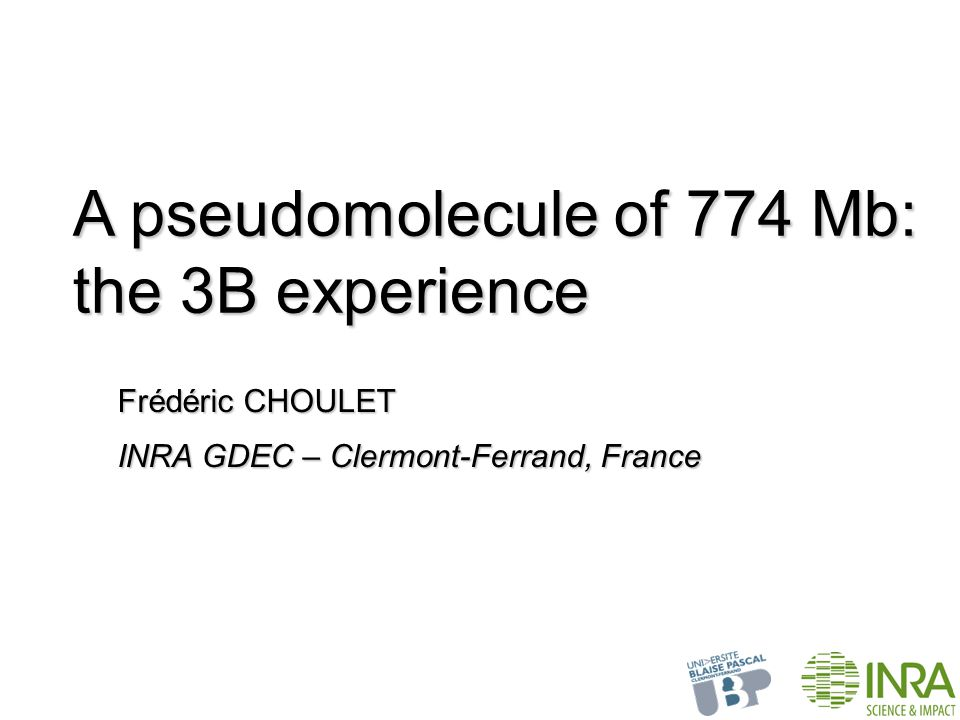 Frédéric CHOULET A pseudomolecule of 774 Mb: the 3B experience INRA GDEC – Clermont-Ferrand, France