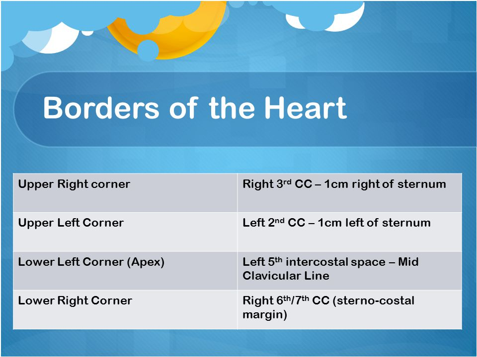 Borders of the Heart Upper Right cornerRight 3 rd CC – 1cm right of sternum Upper Left CornerLeft 2 nd CC – 1cm left of sternum Lower Left Corner (Apex)Left 5 th intercostal space – Mid Clavicular Line Lower Right CornerRight 6 th /7 th CC (sterno-costal margin)