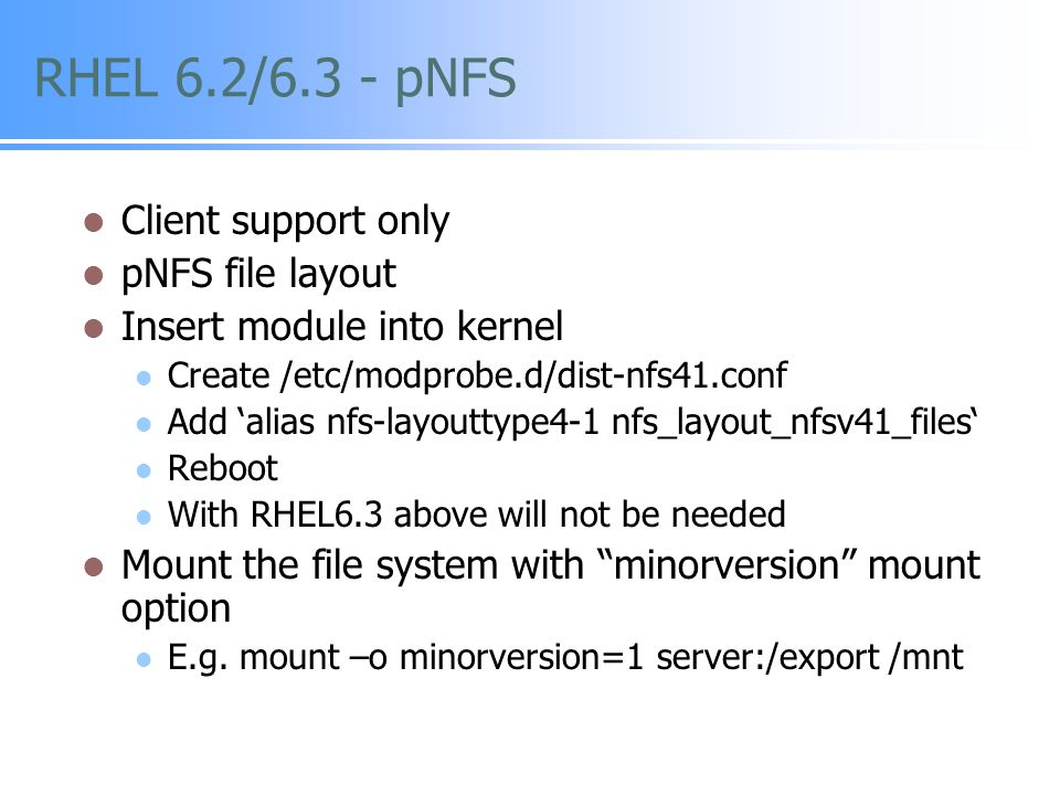 SLES 11 SP2 - pNFS Client support only GA early 2013