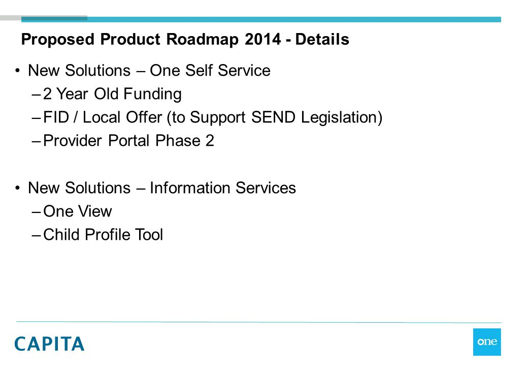 Proposed Product Roadmap 2014 - Details New Solutions – One Self Service –2 Year Old Funding –FID / Local Offer (to Support SEND Legislation) –Provide