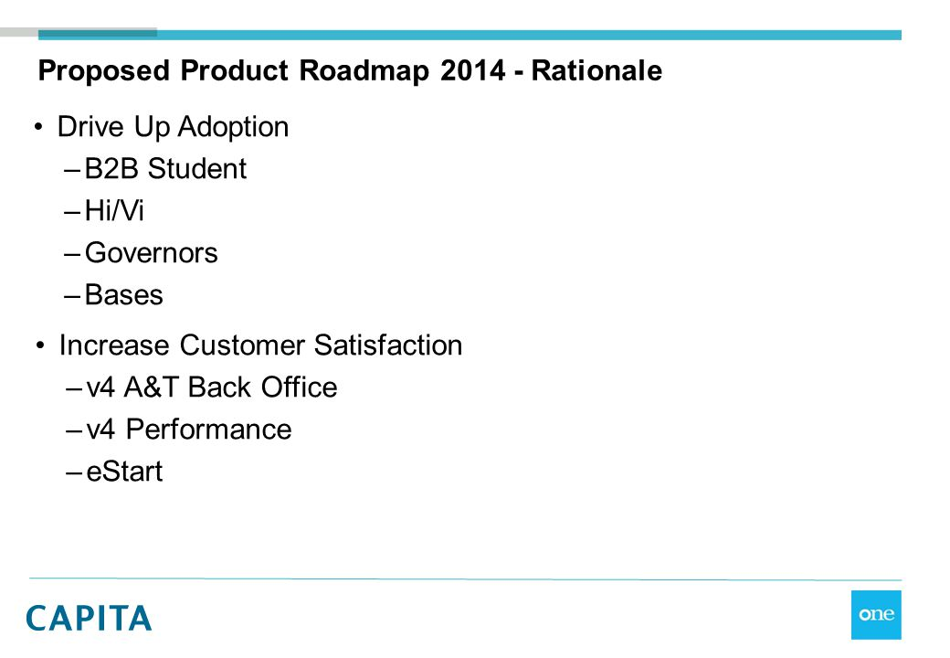 Proposed Product Roadmap 2014 - Rationale Drive Up Adoption –B2B Student –Hi/Vi –Governors –Bases Increase Customer Satisfaction –v4 A&T Back Office –