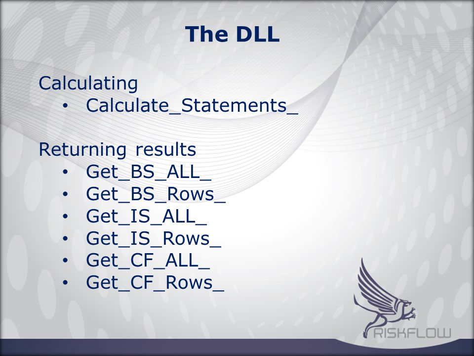 The DLL Calculating Calculate_Statements_ Returning results Get_BS_ALL_ Get_BS_Rows_ Get_IS_ALL_ Get_IS_Rows_ Get_CF_ALL_ Get_CF_Rows_