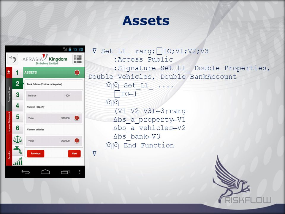 Assets ∇ Set_L1_ rarg; ⎕ IO;V1;V2;V3 :Access Public :Signature Set_L1_ Double Properties, Double Vehicles, Double BankAccount ⍝⍝ Set_L1_....