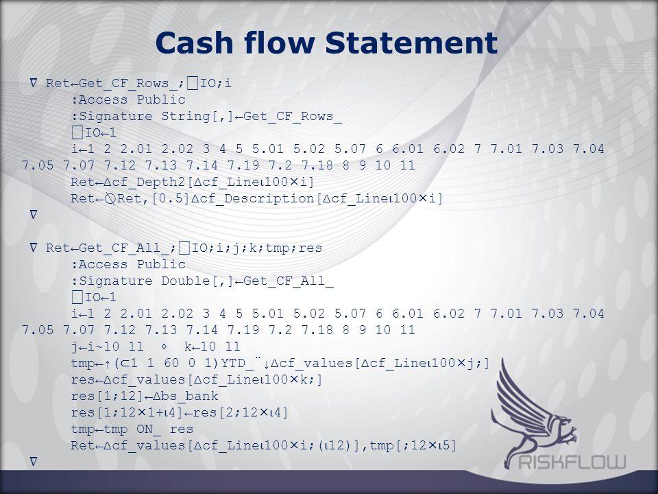 ∇ Ret←Get_CF_Rows_; ⎕ IO;i :Access Public :Signature String[,]←Get_CF_Rows_ ⎕ IO←1 i←1 2 2.01 2.02 3 4 5 5.01 5.02 5.07 6 6.01 6.02 7 7.01 7.03 7.04 7.05 7.07 7.12 7.13 7.14 7.19 7.2 7.18 8 9 10 11 Ret←∆cf_Depth2[∆cf_Line ⍳ 100×i] Ret← ⍉ Ret,[0.5]∆cf_Description[∆cf_Line ⍳ 100×i] ∇ ∇ Ret←Get_CF_All_; ⎕ IO;i;j;k;tmp;res :Access Public :Signature Double[,]←Get_CF_All_ ⎕ IO←1 i←1 2 2.01 2.02 3 4 5 5.01 5.02 5.07 6 6.01 6.02 7 7.01 7.03 7.04 7.05 7.07 7.12 7.13 7.14 7.19 7.2 7.18 8 9 10 11 j←i~10 11 ⋄ k←10 11 tmp←↑( ⊂ 1 1 60 0 1)YTD_¨↓∆cf_values[∆cf_Line ⍳ 100×j;] res←∆cf_values[∆cf_Line ⍳ 100×k;] res[1;12]←∆bs_bank res[1;12×1+ ⍳ 4]←res[2;12× ⍳ 4] tmp←tmp ON_ res Ret←∆cf_values[∆cf_Line ⍳ 100×i;( ⍳ 12)],tmp[;12× ⍳ 5] ∇