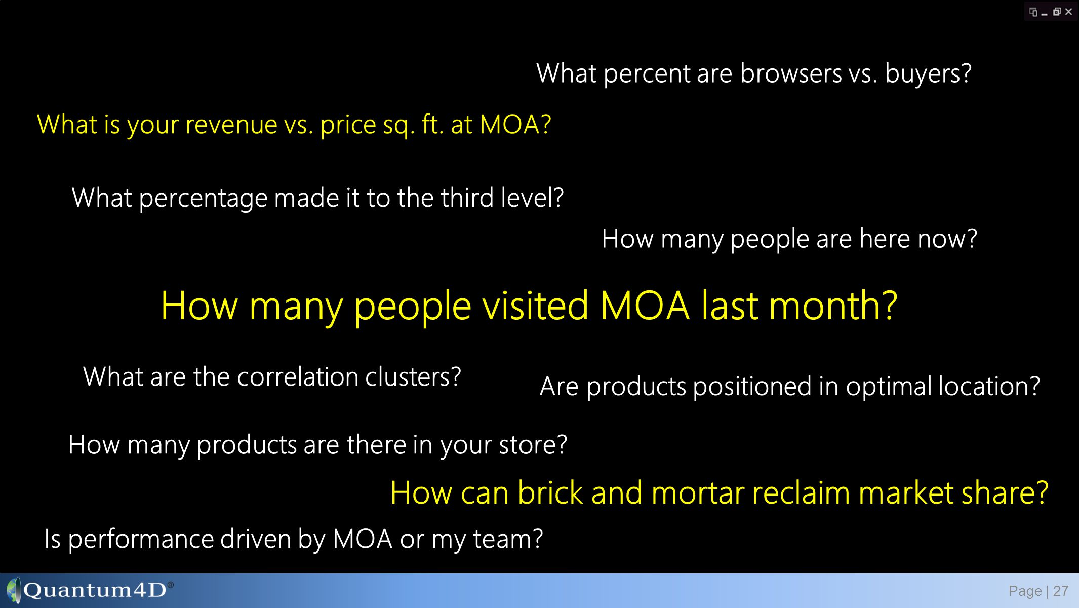 How many people visited MOA last month? Page | 27 What percentage made it to the third level? What is your revenue vs. price sq. ft. at MOA? How many
