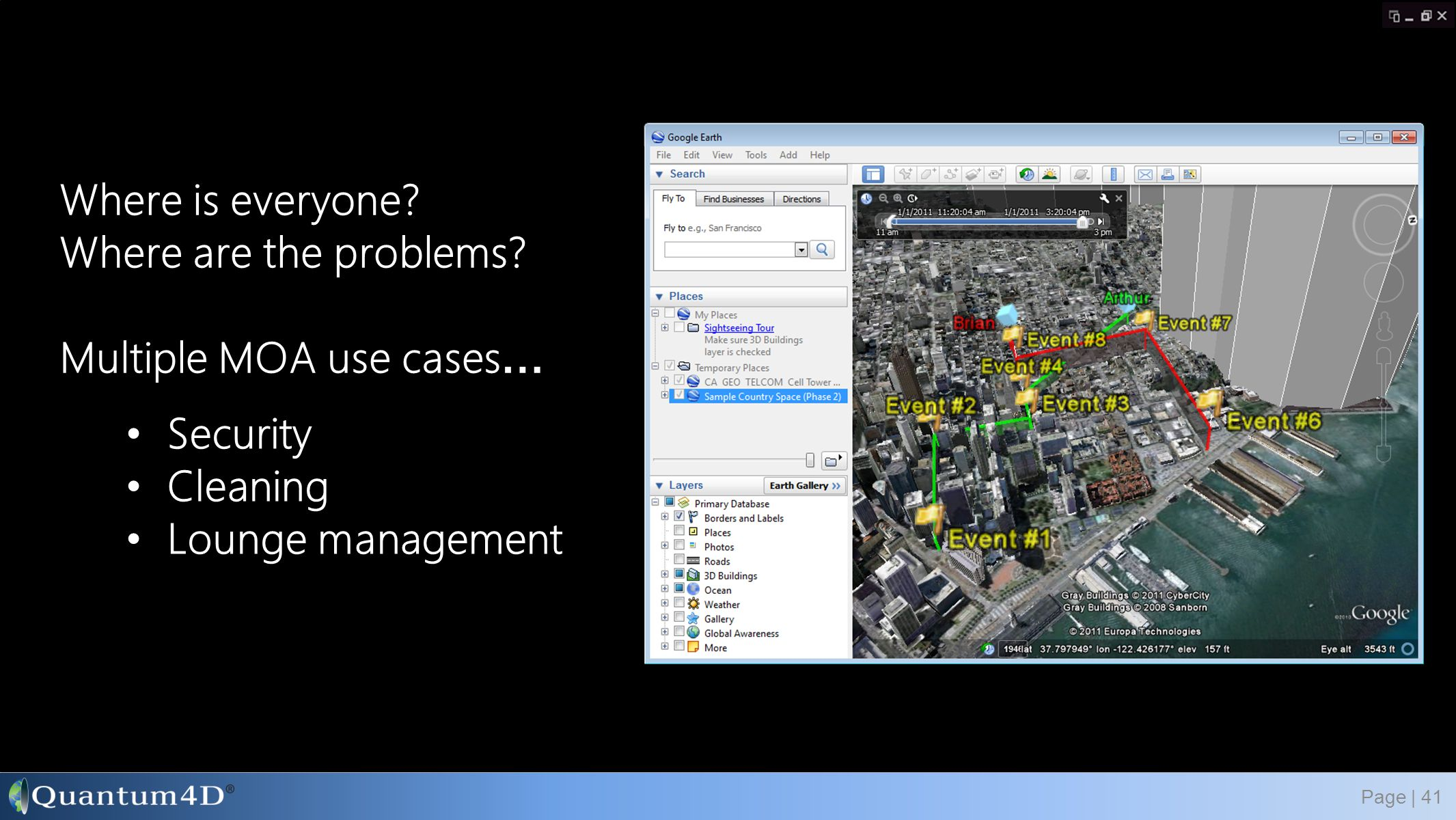 Where is everyone? Where are the problems? Multiple MOA use cases … Page | 41 Security Cleaning Lounge management