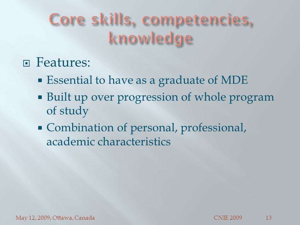 May 12, 2009, Ottawa, CanadaCNIE 200913  Features:  Essential to have as a graduate of MDE  Built up over progression of whole program of study  Combination of personal, professional, academic characteristics