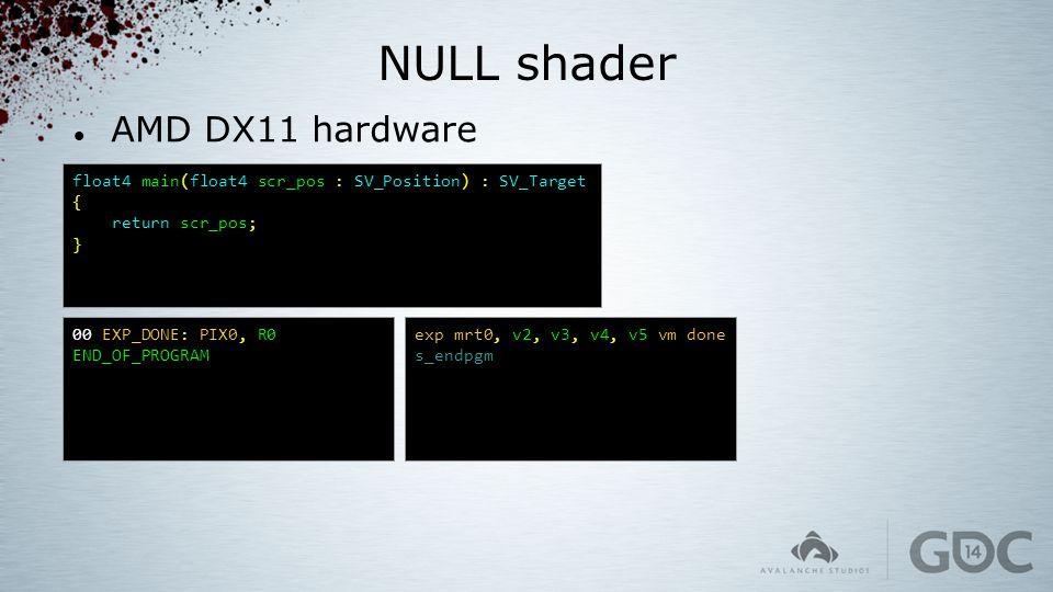 NULL shader AMD DX11 hardware float4 main(float4 scr_pos : SV_Position) : SV_Target { return scr_pos; } 00 EXP_DONE: PIX0, R0 END_OF_PROGRAM exp mrt0,