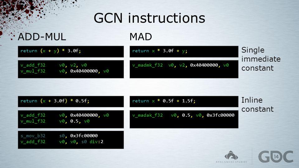 GCN instructions MAD return x * 3.0f + y; v_madmk_f32 v0, v2, 0x40400000, v0 return x * 0.5f + 1.5f; v_madak_f32 v0, 0.5, v0, 0x3fc00000 return (x + y