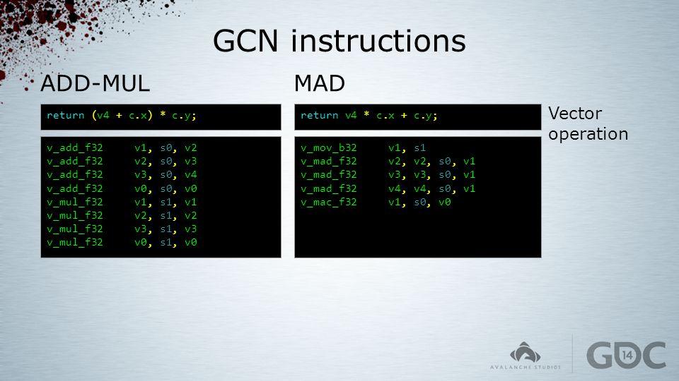 GCN instructions MAD return v4 * c.x + c.y; v_mov_b32 v1, s1 v_mad_f32 v2, v2, s0, v1 v_mad_f32 v3, v3, s0, v1 v_mad_f32 v4, v4, s0, v1 v_mac_f32 v1,