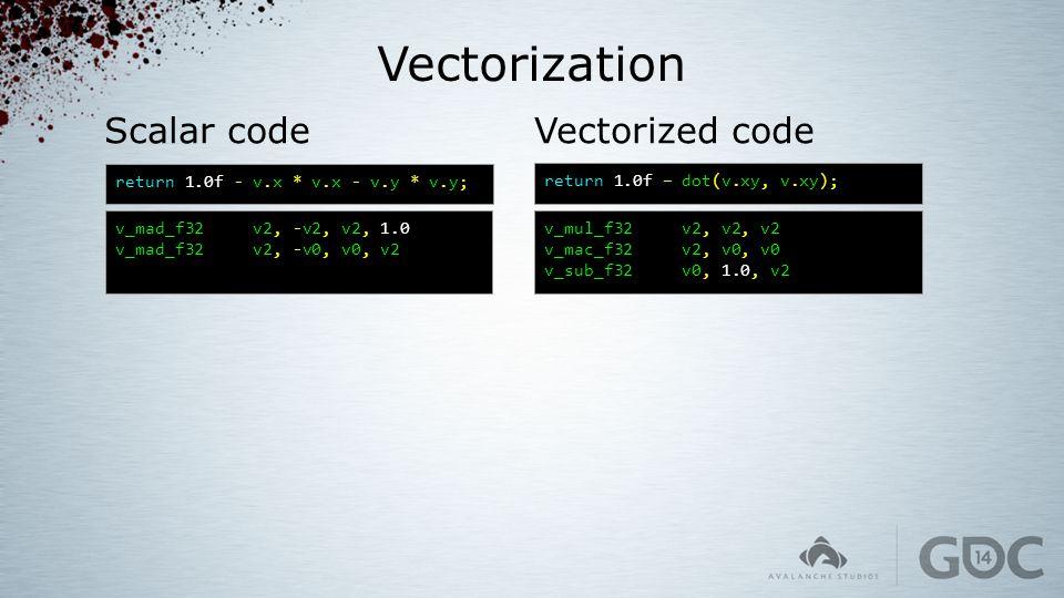 Vectorization Scalar code v_mad_f32 v2, -v2, v2, 1.0 v_mad_f32 v2, -v0, v0, v2 return 1.0f – dot(v.xy, v.xy); Vectorized code return 1.0f - v.x * v.x