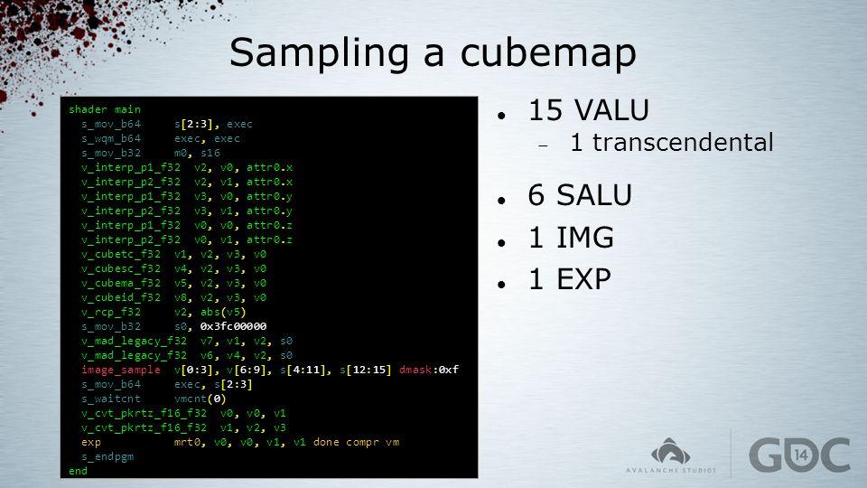 Sampling a cubemap shader main s_mov_b64 s[2:3], exec s_wqm_b64 exec, exec s_mov_b32 m0, s16 v_interp_p1_f32 v2, v0, attr0.x v_interp_p2_f32 v2, v1, a