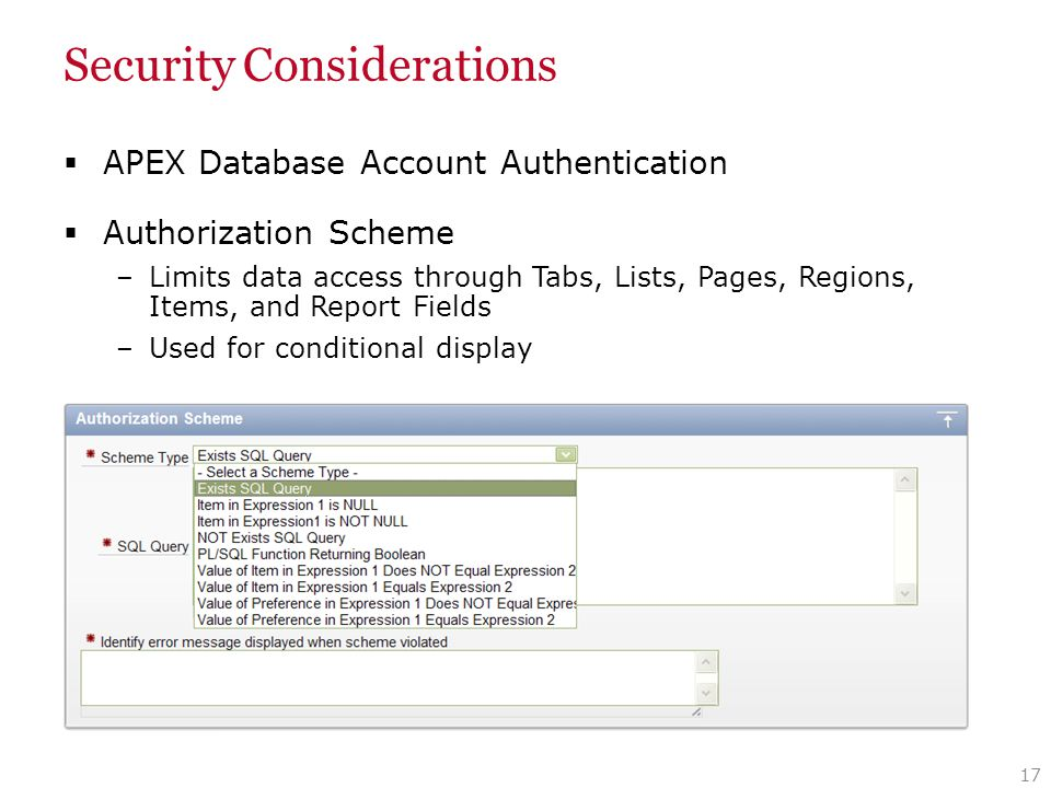 Security Considerations  APEX Database Account Authentication  Authorization Scheme –Limits data access through Tabs, Lists, Pages, Regions, Items,